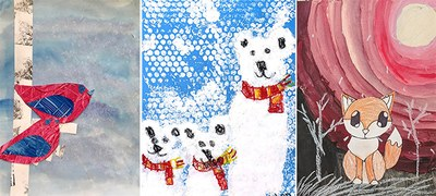 Student artwork featured on APS Board of Education holiday cards.