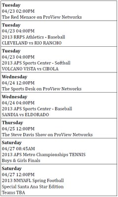 Pro View April 13 schedule
