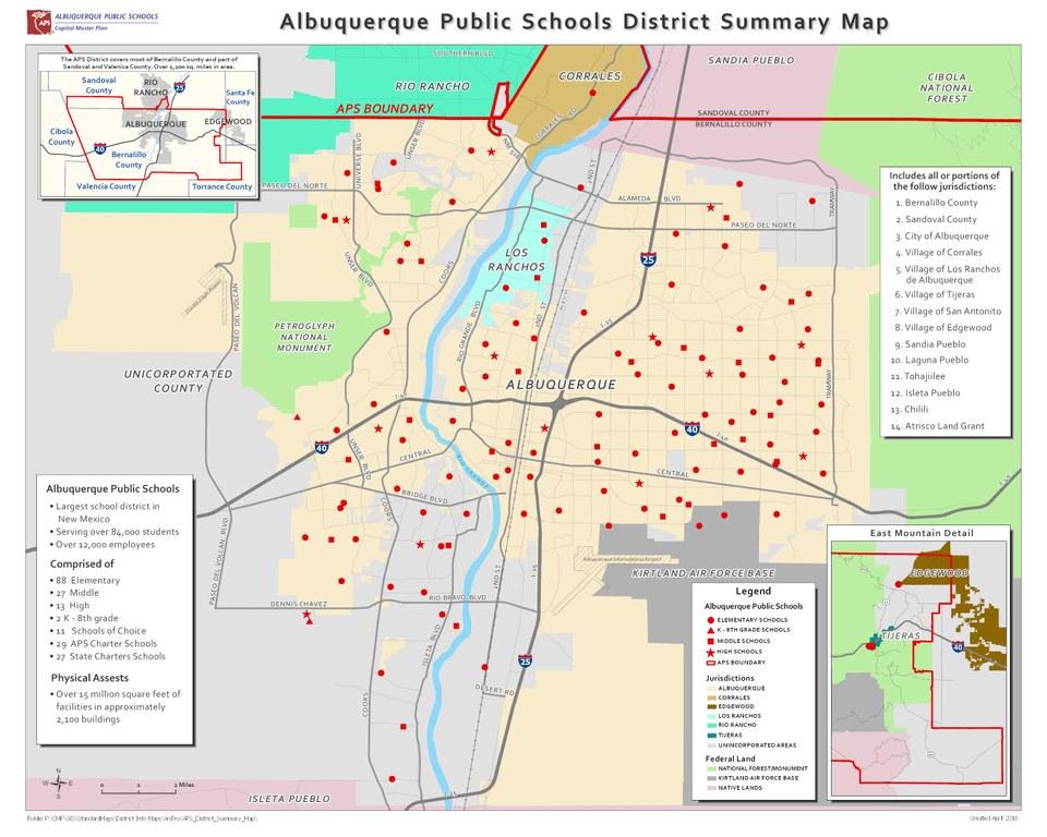 Map of Albuquerque Public Schools Districts