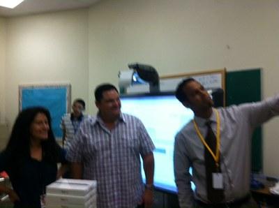 Highland Principal Marco Harris, Mr. Trujillo and teacher Elizabeth Teymoori take a selfie