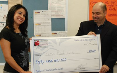 Teresa Rodriguez, a Valle Vista bilingual teacher, is named APS Teacher of the Month