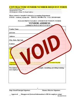 Contractor Void form