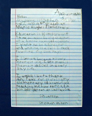 Click to read 4th grader Stephen Miller's letter to the gubernatorial candidates.