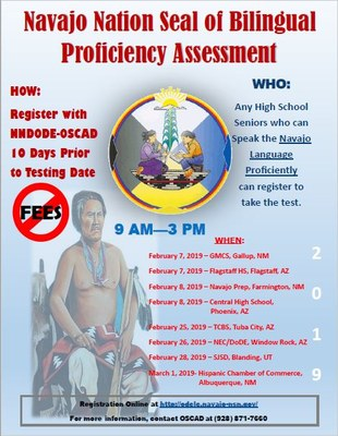 Navajo Nation Seal of Bilingual Proficiency Assessment Flyer