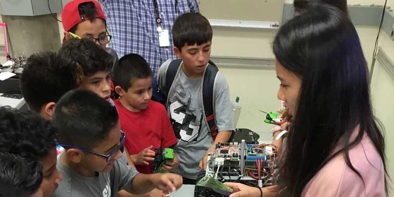 Students creating robots