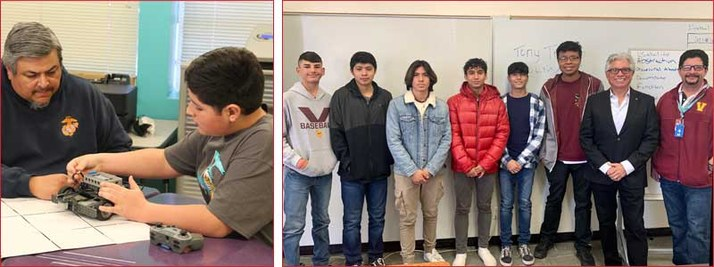 Two photos side by side. The first photo is of a student and teacher working on a robotics project. The second photo is a group of 6 student standing in a classroom with their 2 teachers.