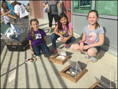 Students using solar ovens