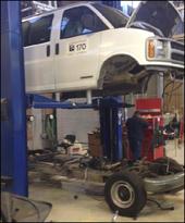Fleet Maintenance shop repairing an APS van