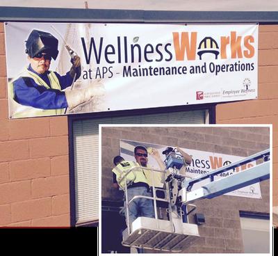 Wellness Works banner installation