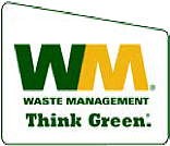 "Waste Management logo with caption, ""Think Green"""