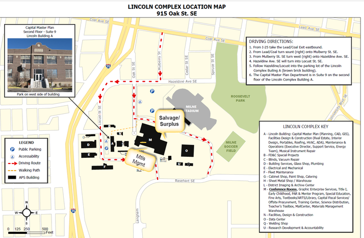 Text equivalent to the map available on the Materials Management Warehouse & Surplus home page.
