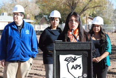Principal Katarina Sandoval and South Valley Academy alumni celebrated the groundbreaking for a permanent school building.