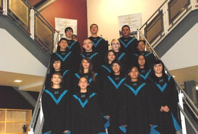 The Del Norte choir performed on the school's main staircase.