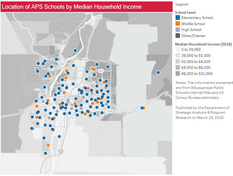 Location of APS Schools by Median Household Income