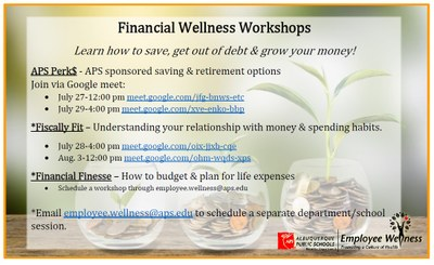 graphic with financial wellness workshops