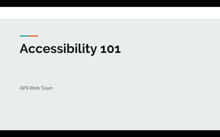 Accessibility 101 Slides