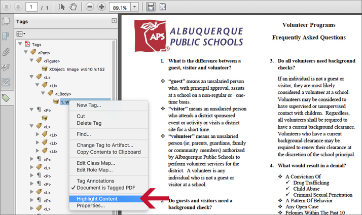 Adobe Acrobat highlight content