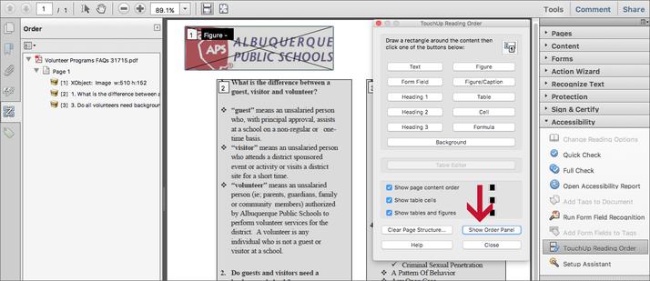 Adobe Show Order Panel