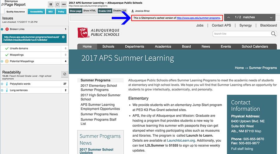 APS link in site improve report