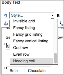 Plone Select Heading cell