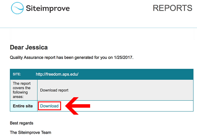 School SiteImprove Email Link
