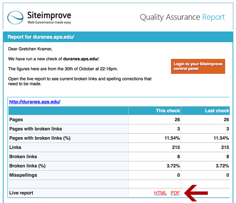 Siteimprove QU Report