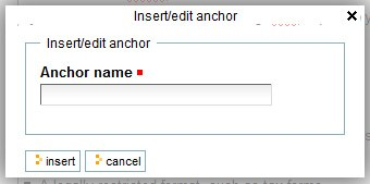 anchor name dialog box