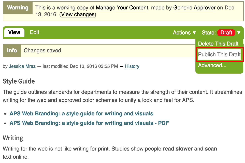 Publish Draft Changes