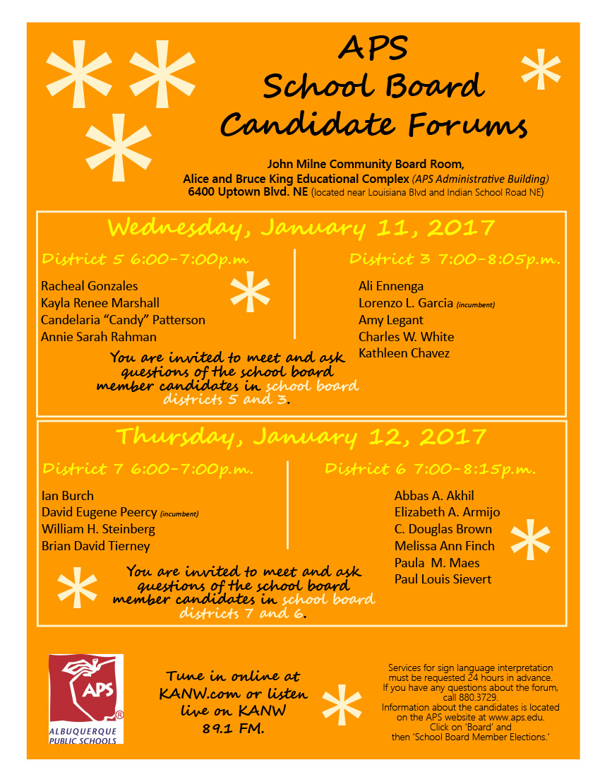 Board of Education Candidate Forum - Jan 12, 2017