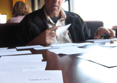 Card sorting at a coffeeshop