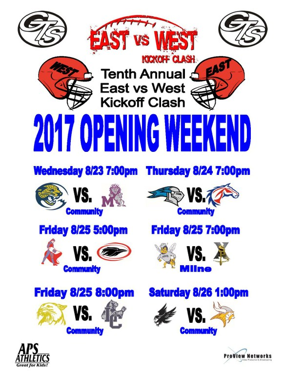 This is the schedule for the opening weekend of high school football.