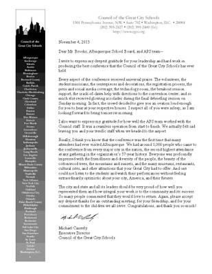 Letter from CGCC about Conference