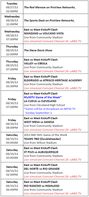 ProView Networks Schedule for Week of 8-27-13