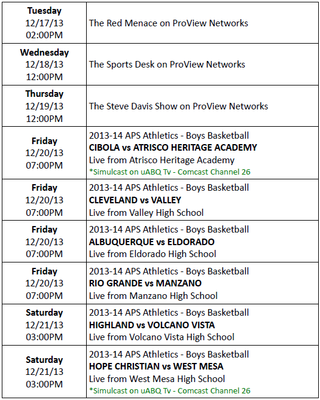 ProView Networks Schedule for Week of 12-17-13