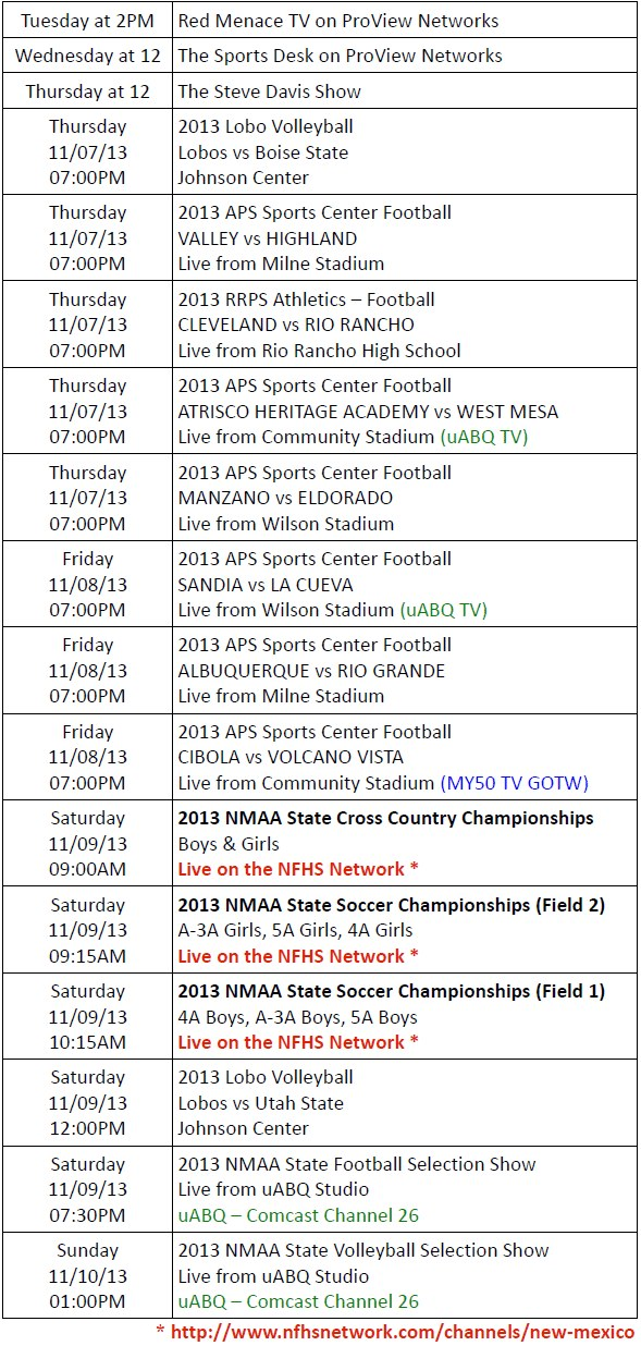ProView Networks Schedule for Week of 11-04-13