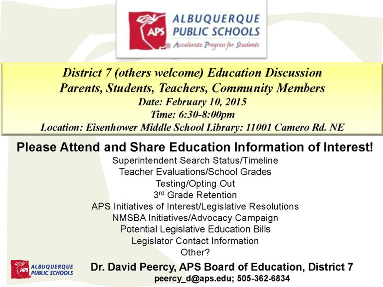 District 7 Education Discussion