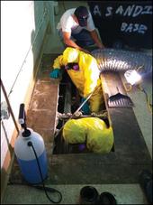Working with asbestos in tunnels below floor