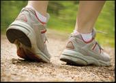Closeup of shoes walking outside