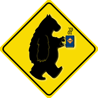 "Summer Hibernation logo, depicting a bear holding a hot cup labeled ""M&O"""