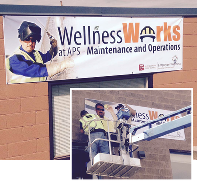 Wellness Works banner installation