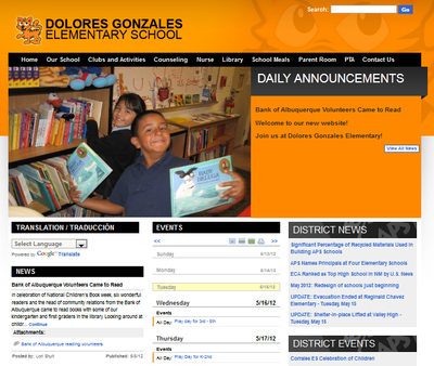 The new Dolores Gonzales Elementary School website