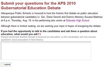 Click to submit your debate questions
