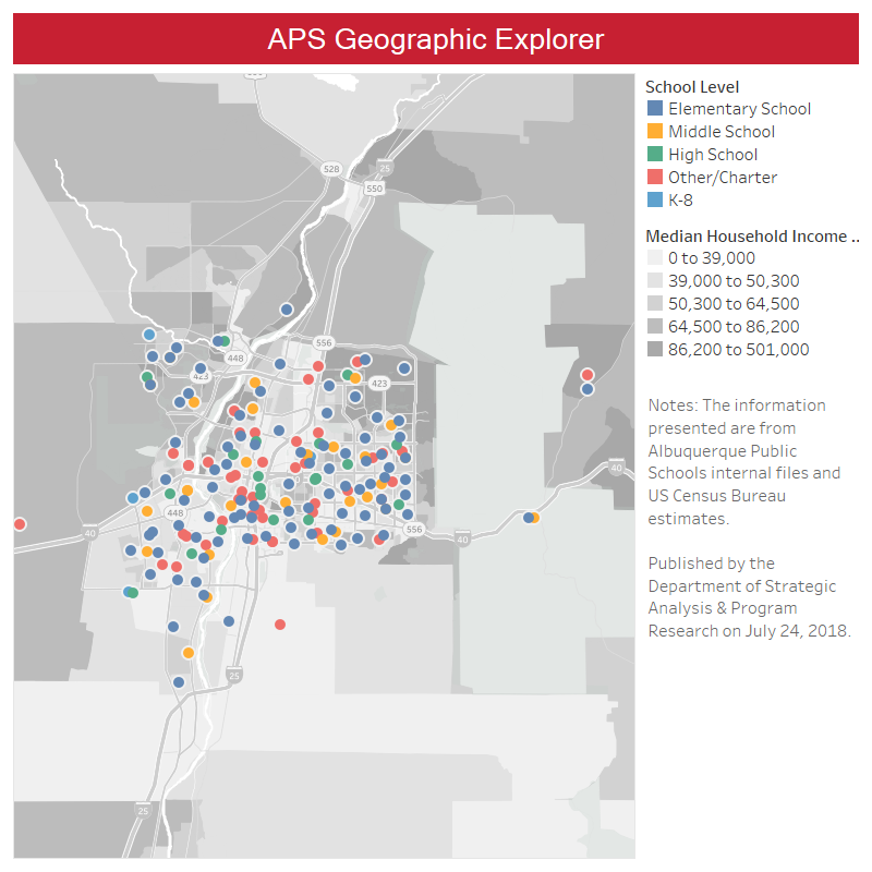 APS Geographic Explorer interactive school map.