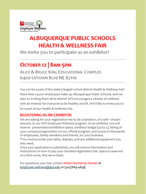Health Fair Exhibitor Invitation Letter