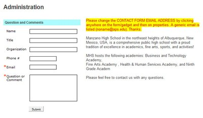 Administration contact form