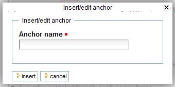 anchor name dialog box