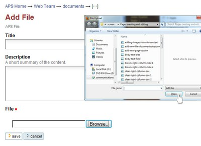 browse add file in documents