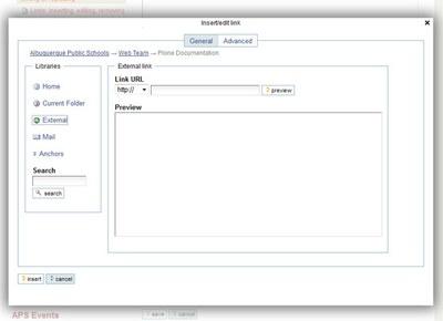 external link option dialog box
